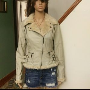 Faux leather jacket by Forever 21 cream Sz-Medium